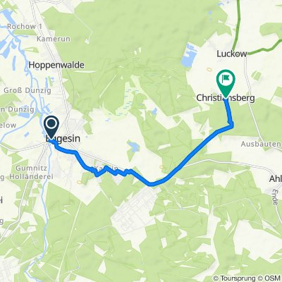 Route nach Christiansberg 121, Luckow