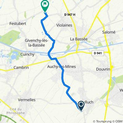 De Chemin d'Auchy, Hulluch à Rue de l'Étang, Violaines