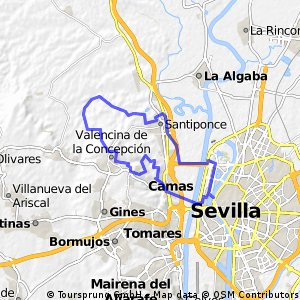 Sevilla-Santiponce-Arroyo del Judío-Valencina-Castilleja Guzmán-Cerro Sta Brígida-Camas-Sevilla CLONED FROM ROUTE 81875