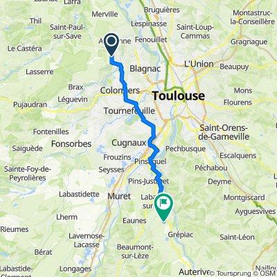 De Route de Mondonville, Cornebarrieu à Rue des Étangs 16, Vernet