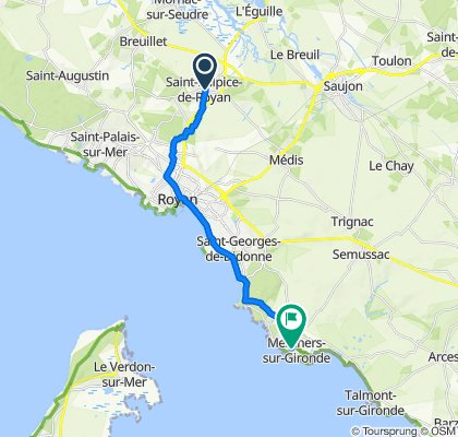 De 38 Route de Rochefort, Saint-Sulpice-de-Royan à Rue du Peyrat, Meschers-sur-Gironde