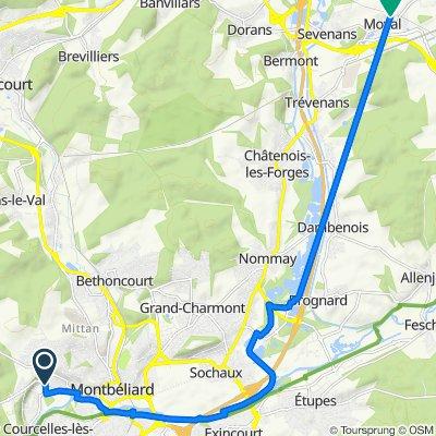 De 32 Rue de Roses, Montbéliard à 4 Rue des Chenevières, Moval