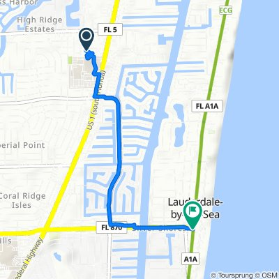 2401 NE 65th St, Fort Lauderdale to 4353 N Ocean Dr, Lauderdale-by-the-Sea
