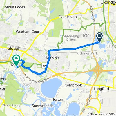 Route to 109–115 The Myrke, Slough