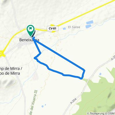 Calle de Ramón y Cajal, 86, Beneixama to Calle de Nueva de la Aurora, 95, Beneixama
