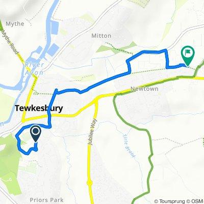 Route to 15 Furrowfield Park, Tewkesbury