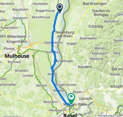 De 25 Rue du Chateau d'Eau, Blodelsheim à Colmarer Straße 1, Weil am Rhein