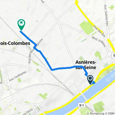 De Quai du Docteur Dervaux 182, Asnières-sur-Seine à Rue Raspail 70, Bois-Colombes
