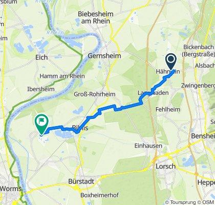 Georg-Fröba-Straße 12A, Alsbach-Hähnlein nach Golfpark-Allee 1, Biblis