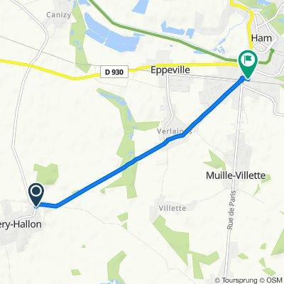De 1 Grande Rue, Esmery-Hallon à 2 Place de la Gare, Muille-Villette