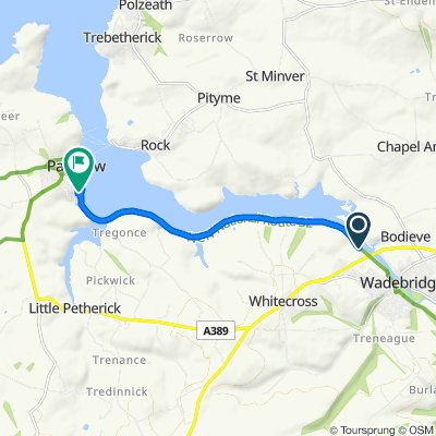 Route to 15 Egerton Road, Padstow