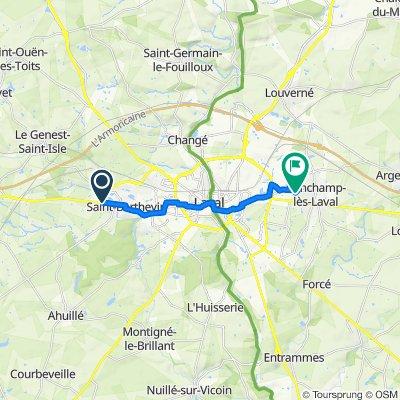 De Rue de Bretagne, Saint-Berthevin à 16 Rue Georges Bizet, Bonchamp-lès-Laval