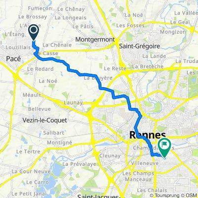 De Avenue de Champalaune 12, Pacé à Rue de Riaval 30, Rennes