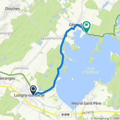 De Route du Lac, Lusigny-sur-Barse à Rue du Fort Saint-Georges, Géraudot