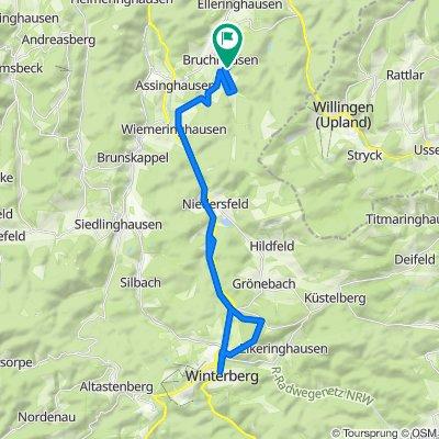 An der Eiche über Assinghausen, Wiemeringhausen über Ruhrtalradweg nach Winterberg und zurück