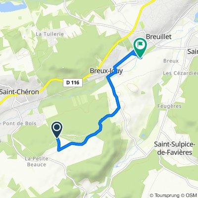 De Camping Héliomonde, Saint-Chéron à Rue du Pont des Gains, Breux-Jouy