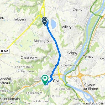 264–306 Route de Brasseronde, Montagny nach 15 Chemin de la Rama, Givors