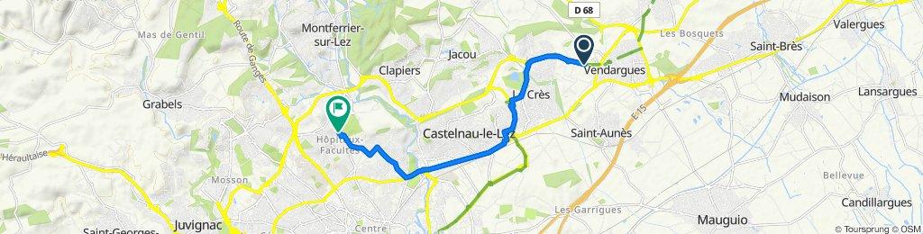 De 300 Route de Jacou, Vendargues à 73 Rue Jean Perrin, Montpellier