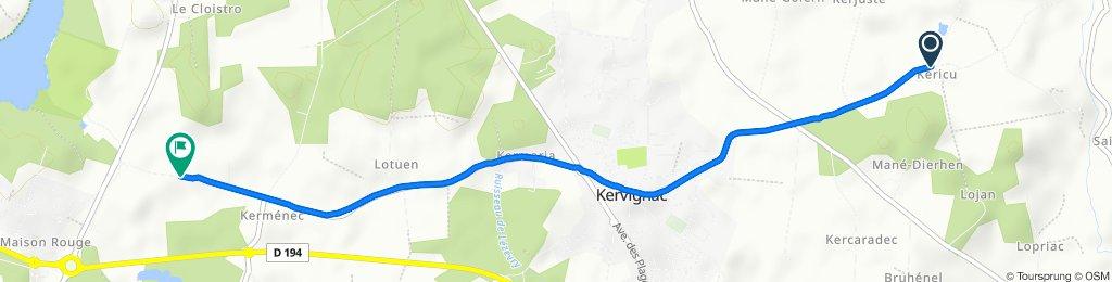 De Rue de l'Étang, Kervignac à Keroualan, Kervignac