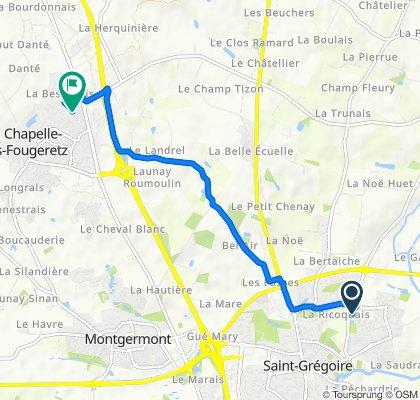 De 5 Rue Aristide Briand, Saint-Grégoire à 2 Allée de la Hamonière, La Chapelle-des-Fougeretz