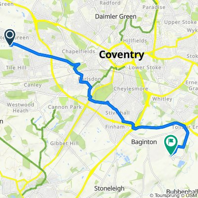 29 Rosemary Close, Coventry to Siskin Parkway West, Coventry