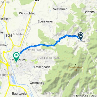 Halbgütle 30, Durbach naar Hauptstraße 82, Offenburg