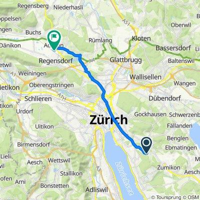 Forchstrasse 106, Zollikerberg nach Althardstrasse 150, Regensdorf