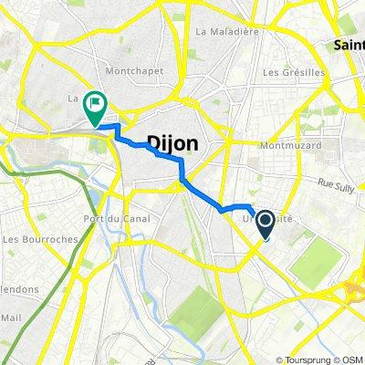 De Rue Albert et André Claudot 17, Dijon à Cour de la Gare, Dijon