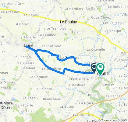Itinéraire vers 43 Rue de la Vallée du Havre, Couffé