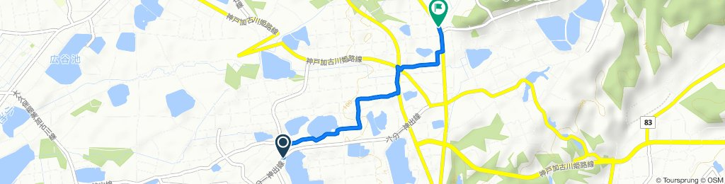 1673, Kandecho Hosei, Nishi-Ku, Kobe-Shi to 国道175号, Nishi-Ku, Kobe-Shi