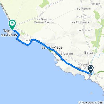 De 2 Route du Littoral, Chenac-Saint-Seurin-d'Uzet à Rue de la Porte de la Ville, Talmont-sur-Gironde