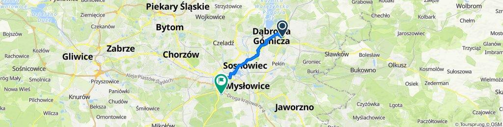 Marcina Kasprzaka 58, Dąbrowa Górnicza do Giszowiec Mysłowicka, Katowice