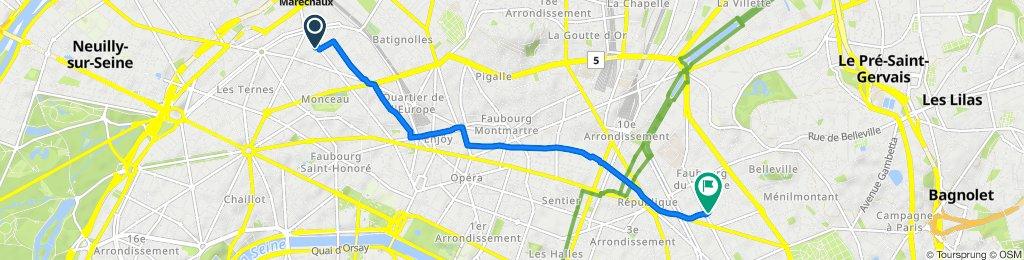 155 Boulevard Malesherbes, Paris to 62 Rue Jean-Pierre Timbaud, Paris