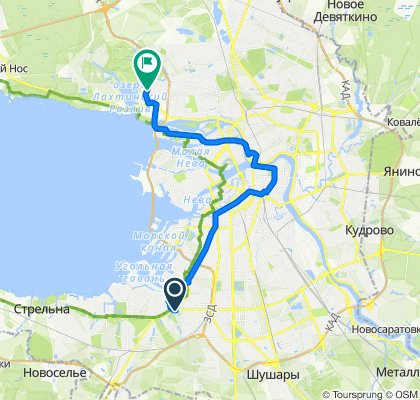 Leninskiy Avenue 109, Sankt-Peterburg to Ulitsa Optikov 45 корпус 1, Sankt-Peterburg