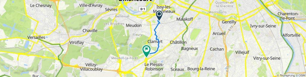 De 61 Promenade du Verger, Issy-les-Moulineaux à Hôpital Antoine-Béclère, 157 Rue de la Porte de Trivaux, Clamart