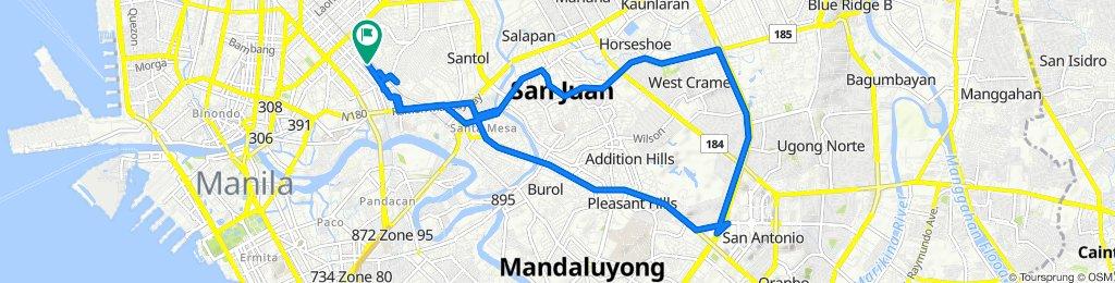 Route to Prudencio Street 551, Manila