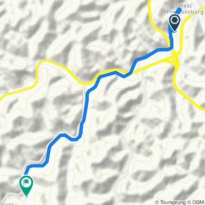Route from Memorial Dr, Prestonsburg