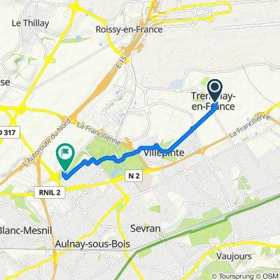 De 7 Allée de la Ferme, Tremblay-en-France à Parc Paysager Municipal Robert Ballanger, Aulnay-sous-Bois