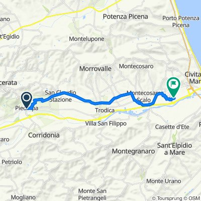 Da Via Cluentina 13, Piediripa a Via Enrico Mattei 8, Civitanova Marche