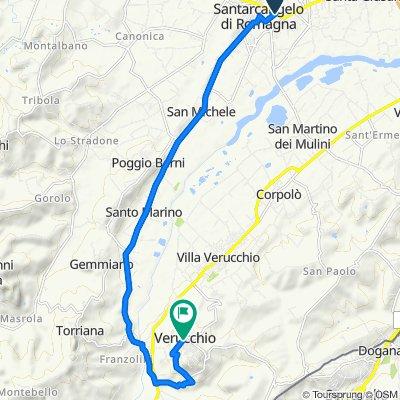Da Via Piadina 37, Santarcangelo di Romagna a Piazza Malatesta 15, Verucchio