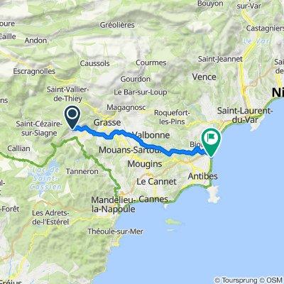 Route de Cabris, Spéracèdes nach Route du Bord de Mer, Antibes