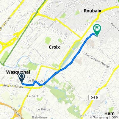 De Avenue du Roi Albert 1er 21, Wasquehal à Rue de Bouvines 57, Roubaix