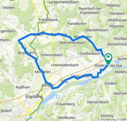 Wörth-Kläham-Unkofen-Bruckbach-Mirskofen-Gaden-Ahrain-Niederaichbach-Wörth