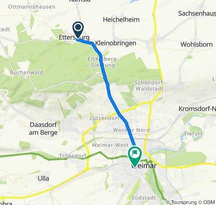 Dorfstraße 40, Ettersburg nach Heinrich-Heine-Straße 22, Weimar