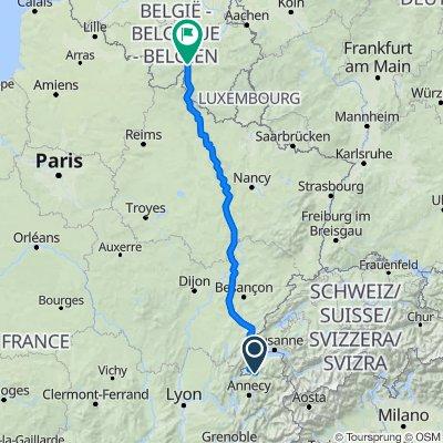 De 1387 Route de Pont-Notre-Dame, Arthaz-Pont-Notre-Dame à Rue du Vélodrome, Dinant