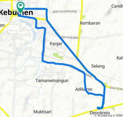 Jalan Veteran No.2, Kecamatan Kebumen to Jalan Pahlawan 136, Kecamatan Kebumen
