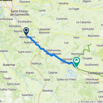 De L'Écluse, Montgiscard à Route de l'Ourmette, Labastide-d'Anjou