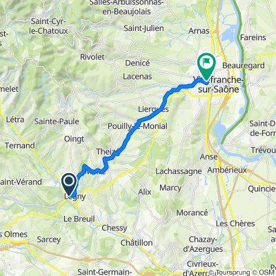 Passage de la Pompe, Légny naar 183 Rue de la Paix, Villefranche-sur-Saône