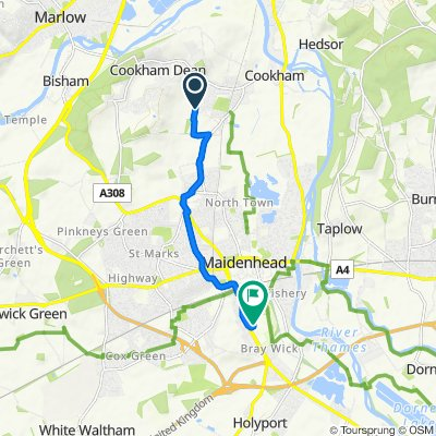 Route from Woodlands Barn, Whyteladyes Lane, Maidenhead