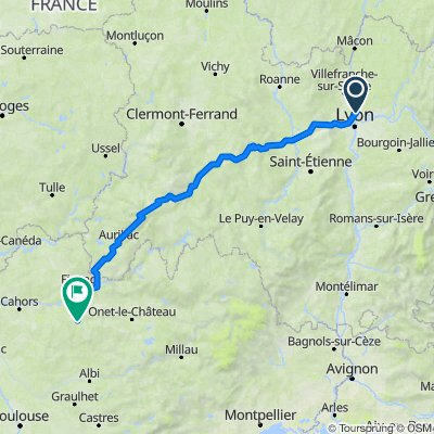 De Chemin de la Ruelle, Fontaines-Saint-Martin à Place de la Gare, Villefranche-de-Rouergue
